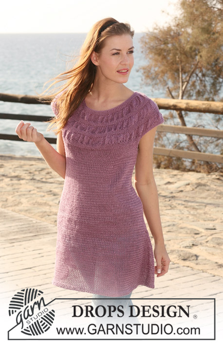 "Purple Haze / DROPS 118-5 - DROPS tunic in ""Lin"" with ""balloon"" pattern on yoke. Size S to XXXL"