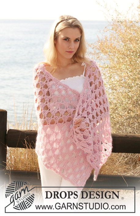 Crochet Patterns Free Drops : Pink Perfection / DROPS 118-8 - Crochet DROPS shawl with ...