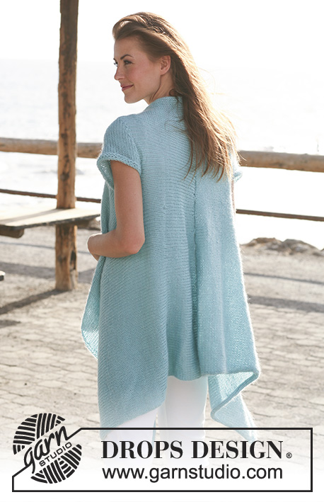 Fly Away / DROPS 119-1 - Long DROPS jacket with short sleeves knitted from side to side in Alpaca and Vivaldi or Brushed Alpaca Silk. Size S - XXXL