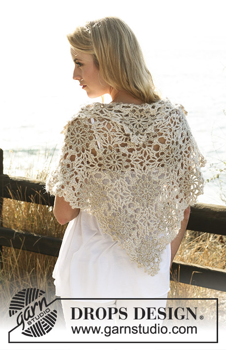 Liberty / DROPS 119-11 - Crochet DROPS shawl in Cotton Viscose and Vivaldi or BabyAlpaca Silk and Brushed Alpaca Silk.