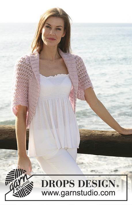 "Sea Blush / DROPS 119-21 - Knitted DROPS bolero with lace pattern in ""Cotton Viscose"" and ""Kid-Silk"". Size XS/S - XXXL"