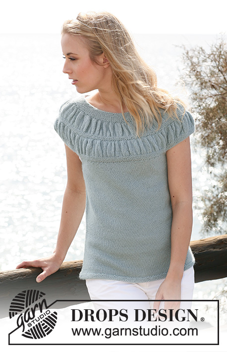 "Odette / DROPS 119-7 - DROPS top in ""Alpaca"" with shirred pattern on yoke. Size S - XXXL"