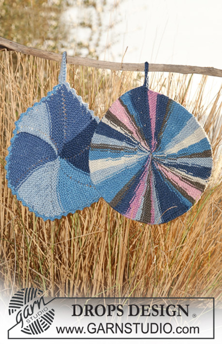 "DROPS 120-48 - Knitted DROPS pot holders in ""Muskat Soft""."