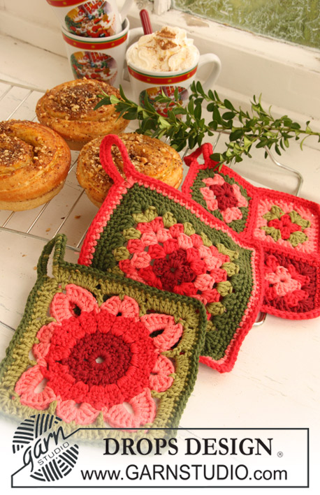 DROPS 120-59 - DROPS crochet pot holders with squares in Paris.