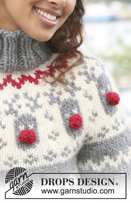 "Rudolph / DROPS 122-1 - DROPS jumper with raglan and reindeer pattern on yoke in ""Eskimo""."