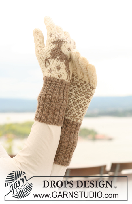 "Oh Deer Gloves! / DROPS 122-14 - Knitted DROPS gloves with reindeer in ""Fabel"" and ""Alpaca""."