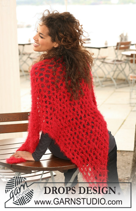 "Eternal Love / DROPS 122-30 - Crochet DROPS shawl with love knots in ""Symphony"" or Brushed Alpaca Silk and BabyAlpaca Silk."
