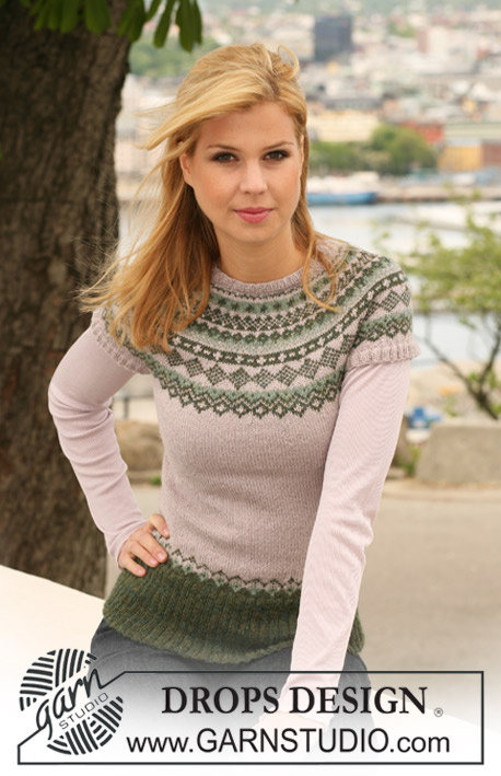 Winter Moss / DROPS 122-41 - Knitted DROPS jumper in Alpaca with short raglan sleeves and Norwegian pattern. Size S to XXXL.