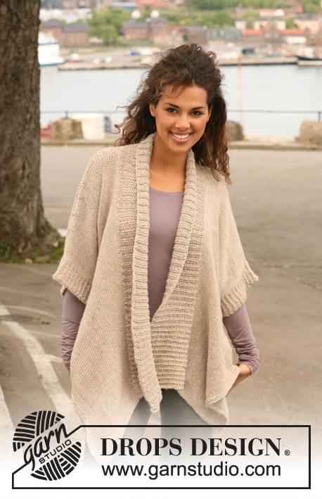 "Double Duty / DROPS 123-2 - Knitted DROPS wrap-round jacket in 2 strands ""Alpaca"". Size S - XXXL."