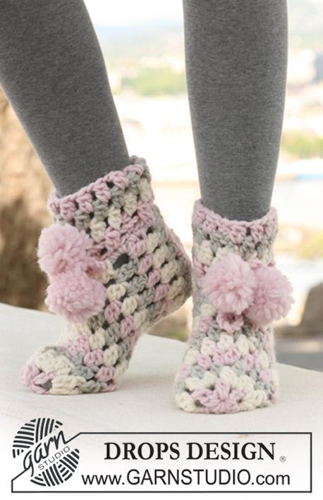 Ice Cream Steps / DROPS 123-23 - Crochet DROPS slippers in ...