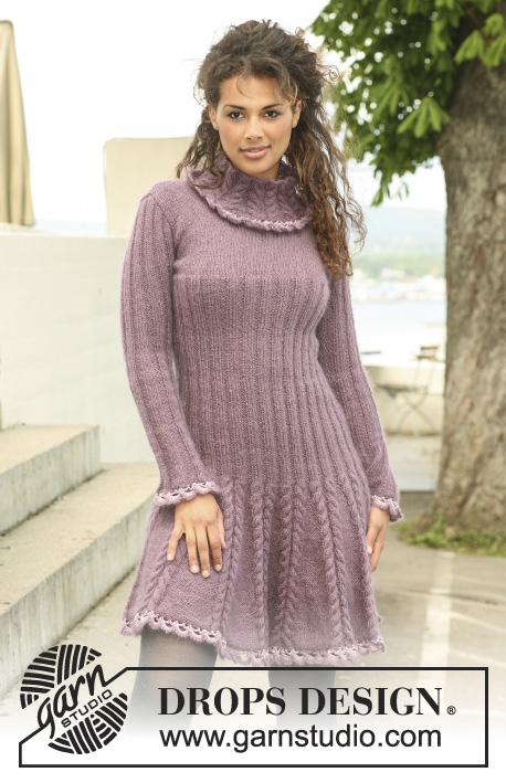 "Blooming Iris / DROPS 123-40 - Knitted DROPS dress in ""Alpaca"" and ""Kid-Silk"" with crochet borders in ""Cotton Viscose"". Size XS to XXL"