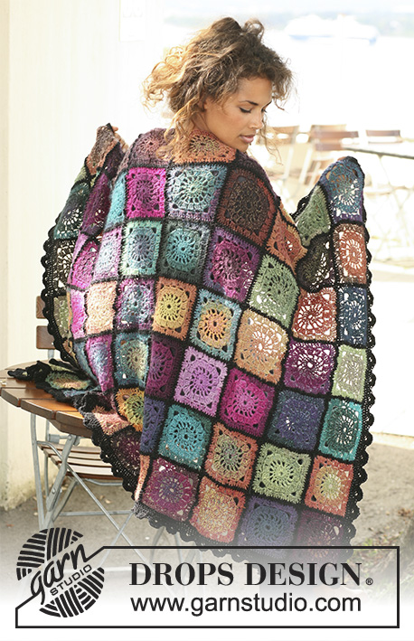 "Bohemian Oasis / DROPS 124-1 - Crochet DROPS blanket in ""Delight"" and ""Fabel""."