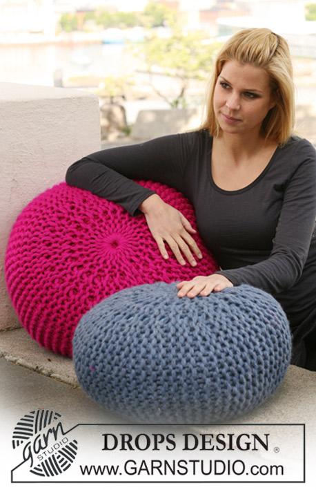 Marshmallow Pouf / DROPS 124-8 - Free knitting patterns by DROPS Design