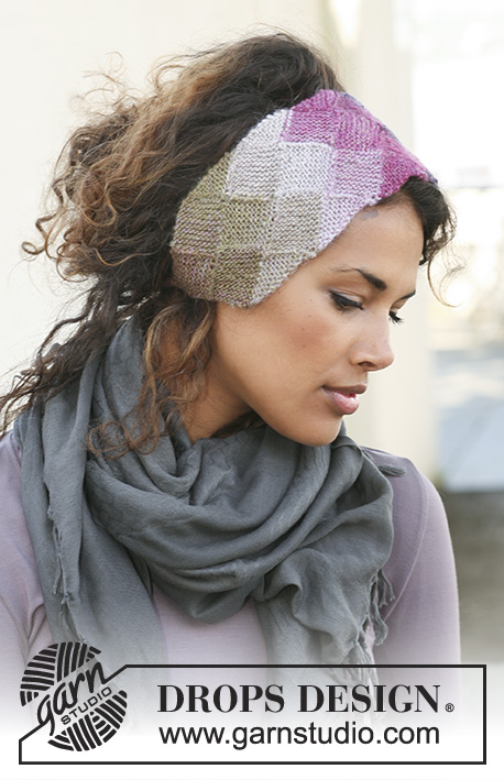 "Mirage / DROPS 126-13 - Knitted DROPS head band with entrelac pattern in ""Delight""."