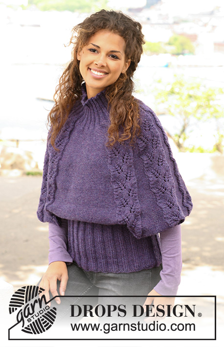 "Twilight Leaves / DROPS 126-30 - Knitted DROPS poncho / top in ""Alaska"" with rib and lace pattern. Size S to XXXL"