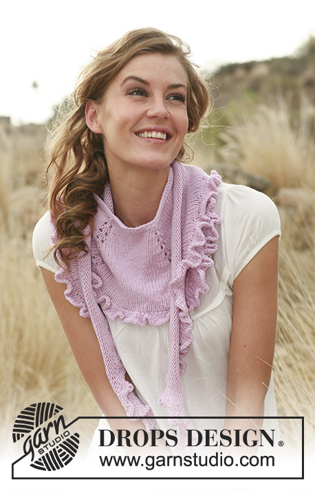 Rose Smiles / DROPS 127-29 - Knitted DROPS shawl with flounce in Merino Extra Fine.