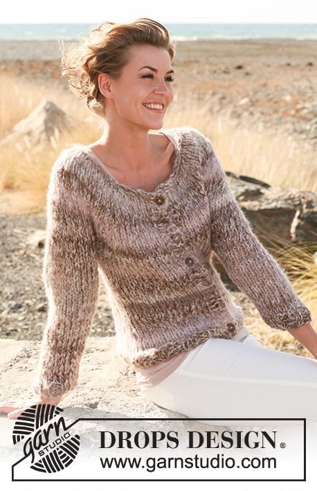 Sand Safari / DROPS 127-5 - Knitted DROPS jacket in stockinette st with round yoke in Verdi. Size: S to XXXL.