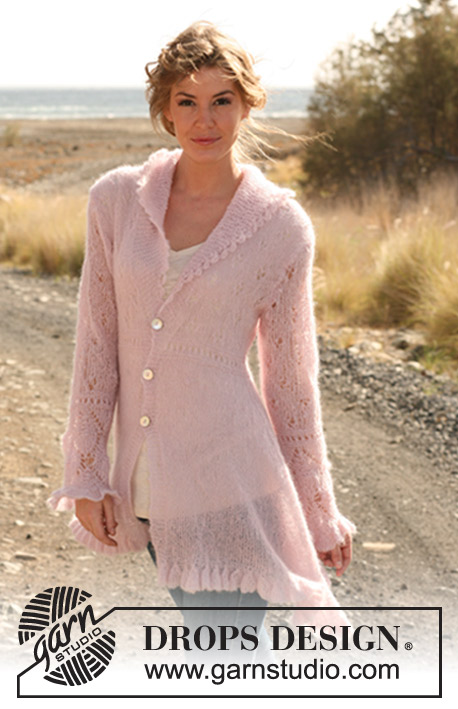 Married By Morning / DROPS 127-6 - Knitted DROPS asymmetric jacket with bell edge and lace pattern in Vivaldi. 