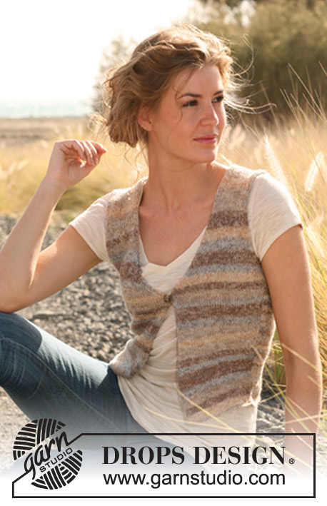 "Country Soil / DROPS 128-15 - Knitted DROPS vest in ""Fabel"". 