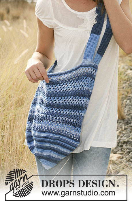Indiana / DROPS 128-6 - Crochet DROPS bag in Muskat Soft.