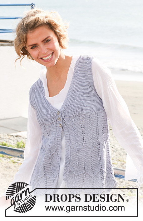 DROPS 129-14 - Knitted DROPS vest with zigzag pattern in Muskat. Size: XS - XXL.