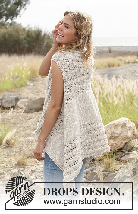 DROPS 129-23 - Knitted DROPS vest with lace pattern worked sideways in Bomull-Lin. Size: S - XXXL.