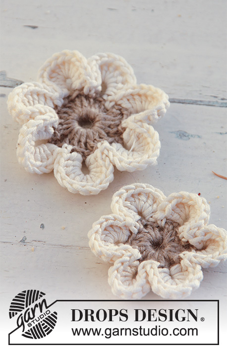 DROPS 129-40 - Crochet DROPS flowers in Lin and Muskat.