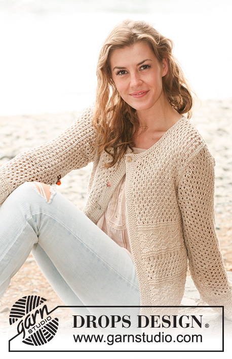 Meringue / DROPS 130-11 - Knitted DROPS jacket with textured pattern and lace pattern in Muskat. 
