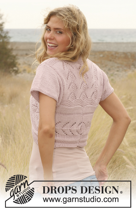 Chevron Shrug / DROPS 130-12 - Knitted DROPS jacket with lace pattern and short rows in Paris. Size: S - XXXL.