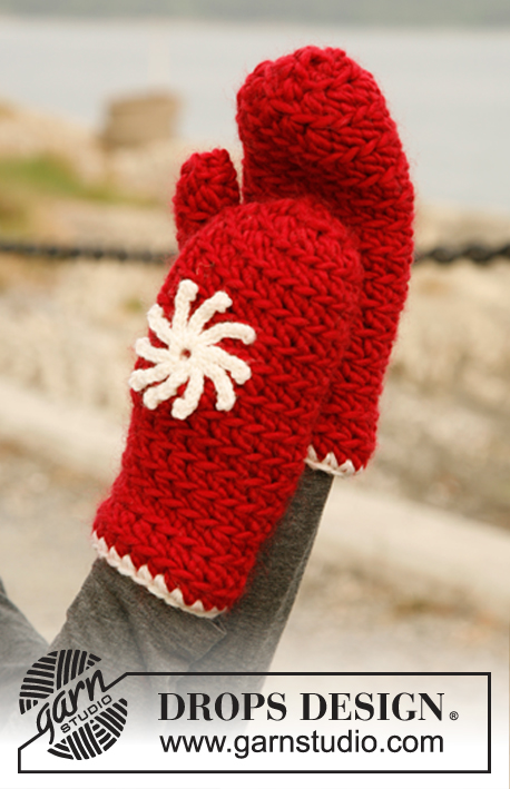 Snowflake / DROPS 131-18 - Set consists of: Crochet hat / Santa hat and mittens in DROPS Eskimo or DROPS Andes with flower in DROPS Karisma.