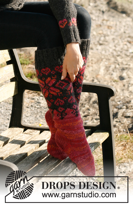 "Lava / DROPS 131-24 - Knitted DROPS socks with Norwegian pattern in ""Nepal"", ""Alpaca"" and ""Fabel""."