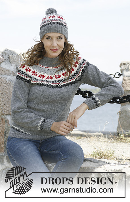 Fjord Rose / DROPS 131-39 - Knitted DROPS hat and jumper with Norwegian pattern in Alpaca. 