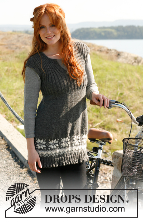 "Po / DROPS 131-7 - Knitted DROPS tunic with Norwegian pattern, flounce at the bottom and rib on yoke in ""Nepal"". Size: S to XXXL."