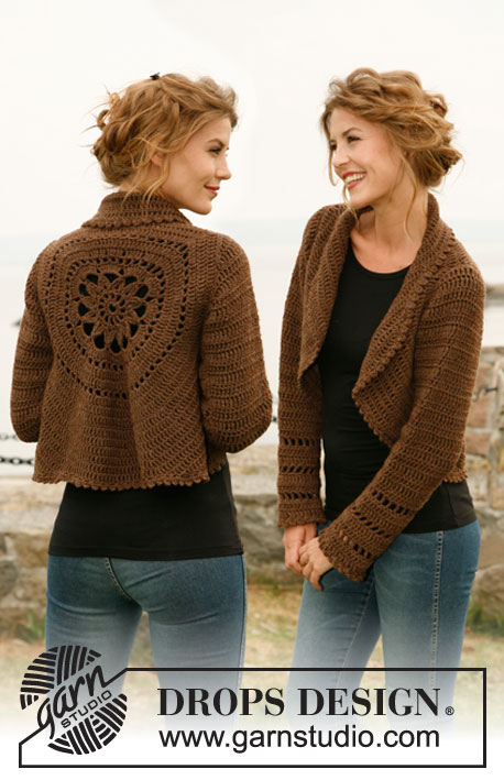 "Wild Flower / DROPS 132-2 - Crochet DROPS jacket worked in a circle in ""Nepal"". Size: S to XXXL"