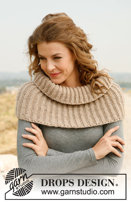 "Cappuchino / DROPS 133-12 - Knitted DROPS neck warmer with English rib in ""Nepal""."