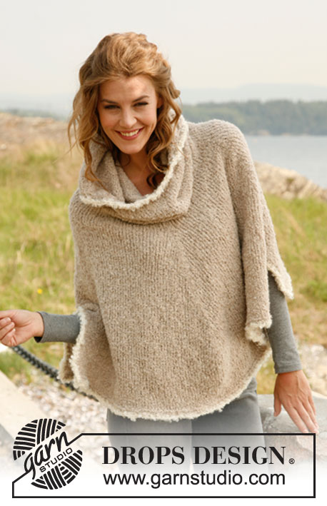 "Robin / DROPS 133-4 - Knitted DROPS poncho with large collar in ""Alpaca Bouclé"".