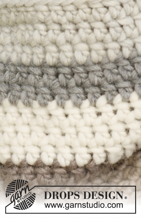 Midwinter / DROPS 134-14 - Crochet DROPS hat and neck warmer in Eskimo or Andes.