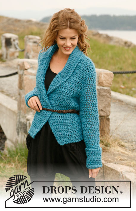 Fresh Beauty / DROPS 134-18 - Crochet DROPS jacket with shawl collar in Eskimo. Sizes S-XXL
