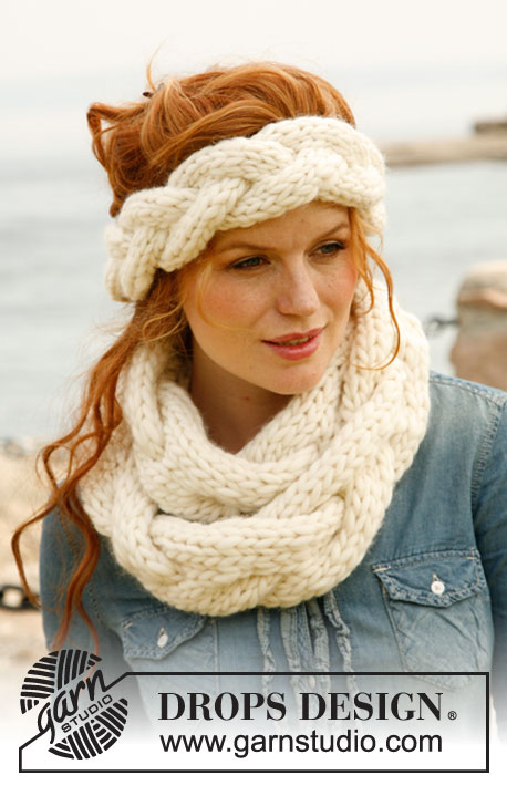 "Braidy / DROPS 134-7 - Knitted DROPS head band and neck warmer with large cable in ""Polaris""."