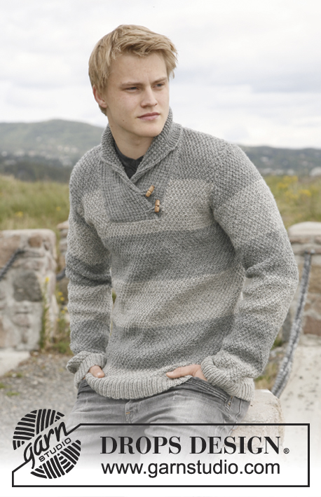"Limestone / DROPS 135-1 - Knitted DROPS jumper for men with shawl collar in ""Karisma"".  