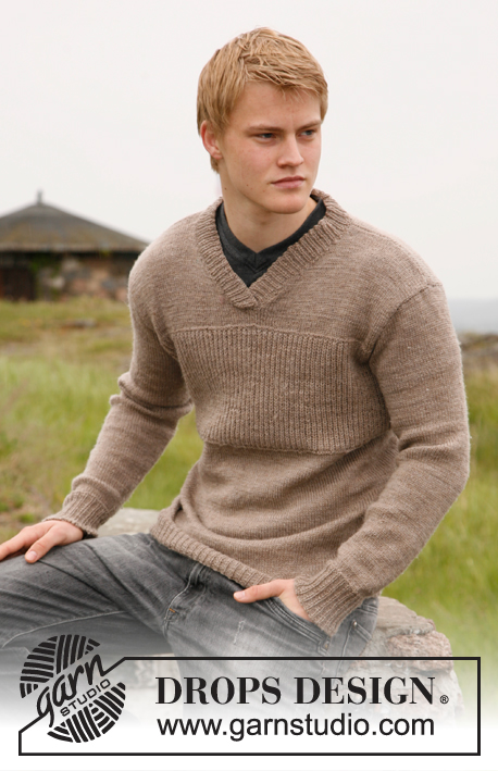 Edward / DROPS 135-26 - Knitted jumper for men with v-neck in DROPS Alpaca. Sizes S - XXL