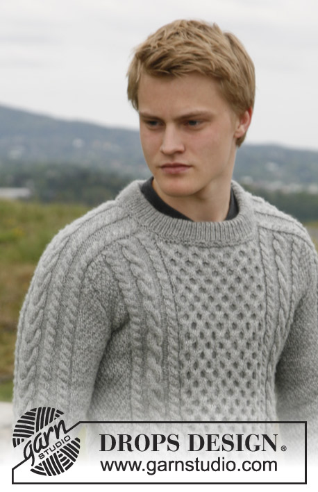 Free Mens Aran Jumper Knitting Pattern : Dreams of Aran / DROPS 135-3 - Modelli di maglia gratuiti di DROPS Design