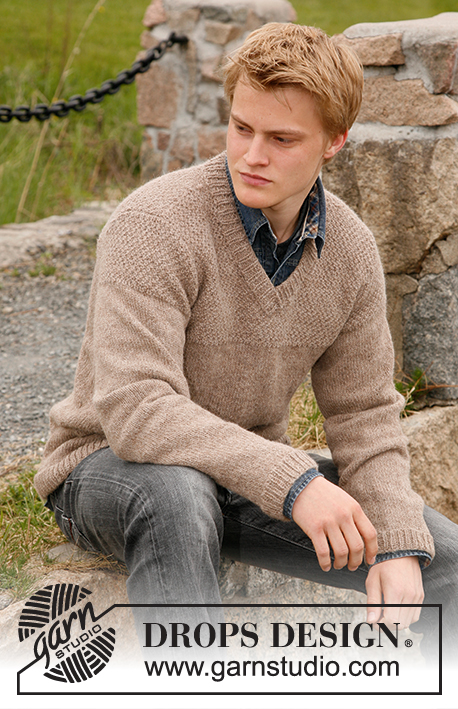 Twilight / DROPS 135-39 - Knitted DROPS jumper for men with yoke in seed st in Lima or DROPS ♥ You #3. Size S-XXXL.
