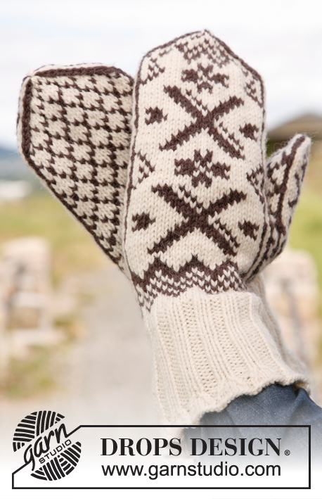 Winter comfort / DROPS 135-41 - Knitted DROPS mittens for men and women with Norwegian pattern in Karisma.