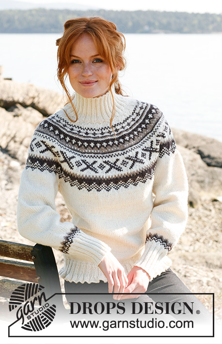 Ivalo / DROPS 135-43 - Knitted jumper with round yoke, Nordic pattern and fitted waist in DROPS Karisma. Size: S to XXXL.