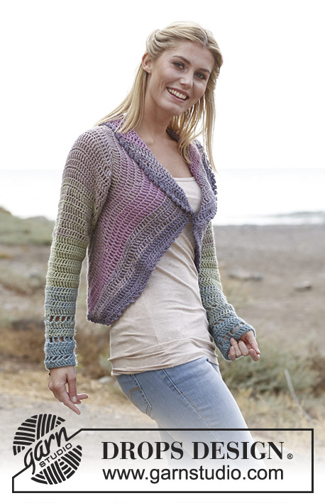 "Summer Circle / DROPS 136-1 - Crochet DROPS jacket worked in a circle in 2 strands ""BabyAlpaca Silk"". Size: S - XXXL."