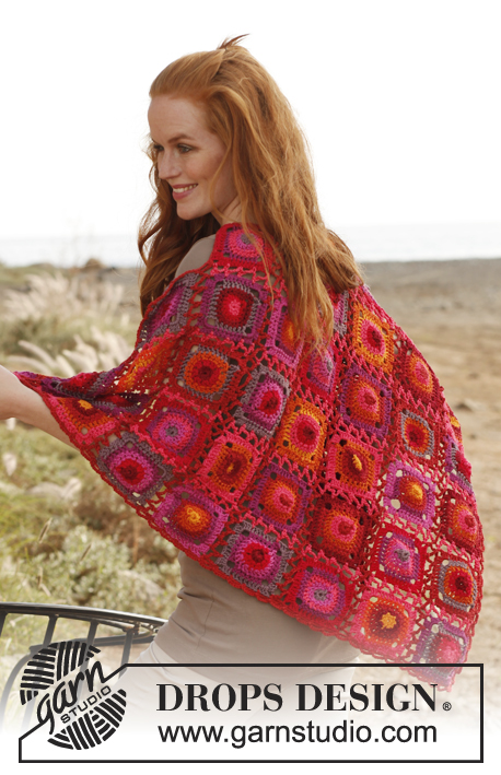 Firenza / DROPS 136-12 - Crochet DROPS shawl with granny squares in Muskat.