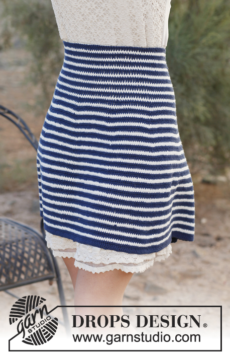 "Sea Breeze / DROPS 136-15 - Crochet DROPS skirt with high waist and stripes in ""Safran"". Size: XS - XXXL."