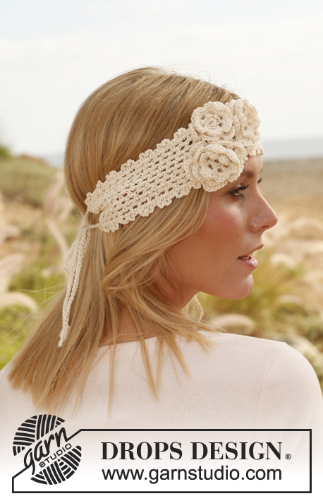 "Summer Rose / DROPS 137-30 - Crochet DROPS head band with flowers in ""Safran""."