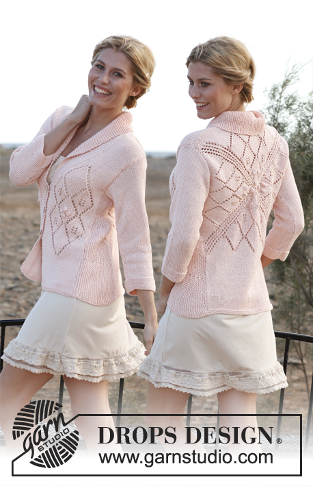 "Miss Sophie / DROPS 137-6 - Knitted DROPS jacket in ""Muskat"" with square on the back, lace pattern and ¾ sleeves. Size: S - XXXL"